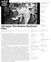 All Ages: Boston Hardcore: Press: Not Coming To A Theater Near You Review